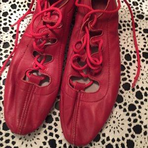 Highland/Scottish dancing red jig shoes size 8